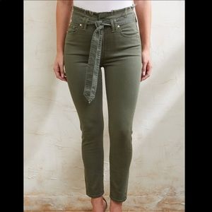 7 For All Mankind Army Green Skinny Jeans